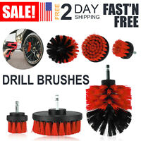 3pcs Car Washing Electric Brush Hard Bristle Auto Detailing Cleaning Tools Red