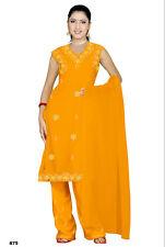 Salwar Kameez Set Karneval Sari Boho Indien Bollywood Gelb in 4 Größen