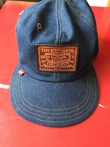 Vintage Levis Denim Leather Patch Red Tab USA Made Trucker Hat Strap back Cap
