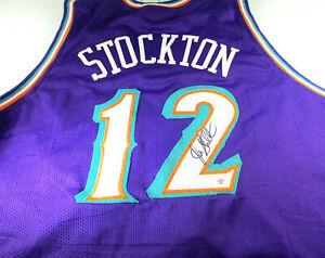 JOHN STOCKTON / NBA HALL OF FAME / AUTOGRAPHED UTAH JAZZ CUSTOM JERSEY / COA