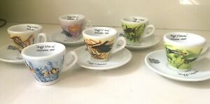 Vittoria  Collezione 1997  6 espresso cups - 5 saucers *Pesci Tropical*