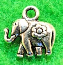 15Pcs. Tibetan Silver 2-Sided ELEPHANT Charms Pendants Earring Drops AN019
