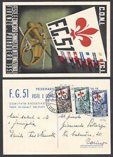 STORIA POSTALE REPUBBLICA 1951 Cartolina Ufficiale Ginnici (KK) Certificato