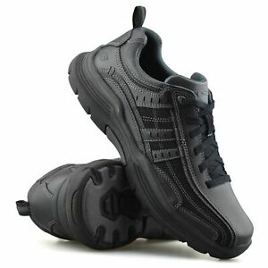 Mens New Skechers Leather Wide Fit Memory Foam Lace Up Casual Walking Shoes Size