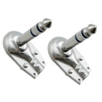 Set of 2 Silver 6.35mm L Shape Stereo Jack Plug Guitar Cable Audio Connector