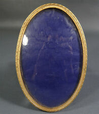 Art Deco Antique Photo Picture Frame Oval Portrait Crystal Brass Desk/Wall Stand