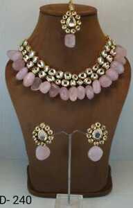 Indian Kundan Jewelry Gold Plated Pink Choker Necklace Earrings Tikka Set
