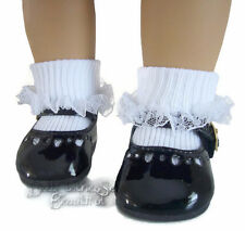 """Black Patent Dress Shoes & Lace Trim Socks fits 18"""" American Girl Doll Clothes"""