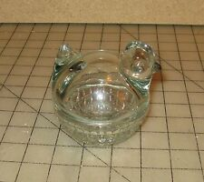"""Clear Glass Crystal HEN or CHICK CHICKEN BASKET 3.5""""x3.""""x4"""" Marked USA w/ Anchor"""