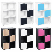 6 Cube Wooden Bookcase Shelving Display Shelves Storage Unit Wood Shelf Door New