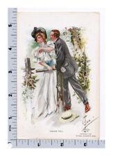 Harrison Fisher Postcard R&N Taking Toll Man Kisses Woman