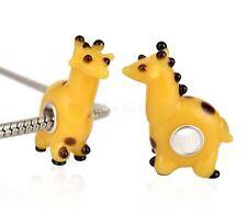 European charm bead - Murano Glass Lampwork Animal yellow giraffe