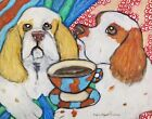 CLUMBER SPANIEL Drinking Coffee 13x19 Folk Art Print Animal Collectible