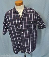 Christian Dior Short Sleeve Navy White Check Shirt Pocket Size Large Chest 48""