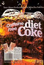 1987 Coca Cola Caffeine Free Diet Coke Print Ad Vintage Advertisement VTG 80s