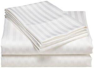 Extra Deep Pocket 6 Piece Bed Sheet Set 1000 TC 100% Cotton White Stripe