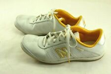 NEW BALANCE LADIES WHITE LEATHER YELLOW TRIM TENNIS SHOES SIZE 8