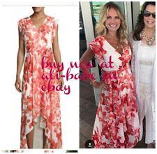 ELIZA J Floral Chiffon High Low Maxi Dress coral faux wrap 8