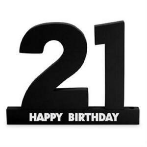 21st Birthday Wooden 3D Signature Sign It Block Black with Silver Pen