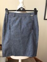 "TED BAKER Denim Style Skirt Straight Size 1(8) L23"" Blue Cotton Wool Mix"