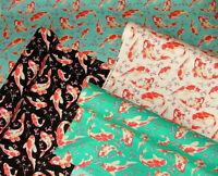 Koi Carp Fish Japanese Cherry Blossom 100% Cotton Poplin Fabric Craft Dress