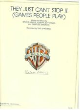 THE SPINNERS-THEY JUST CAN'T STOP IT (GAMES PEOPLE PLAY) SHEET MUSIC-DELUXE-NEW!