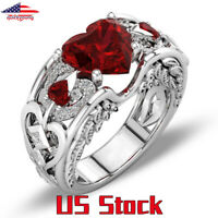 Luxury Princess 925 Silver Red Ruby Birthstone Gemstone Engagement Heart Ring US