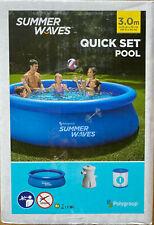 Summer Waves Quick Set Pool + Pumpe 305 x 76 cm Blau Swimming Pool Polygroup NEU