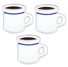 Coffee Mug Applique Patch - Cup of Java, Caffeine, Diner Mug (3-Pack, Iron on)