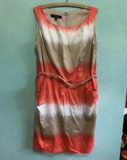 Nine West Sleeveless Belted Dress Coral White Tan Womens 18W