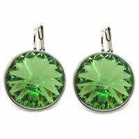 Large Round Bella Women Peridot Earrings Made with SWAROVSKI Crystals®