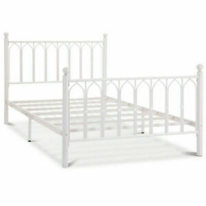 4ft6 Double & 5ft King Solid Madonna Gothic Style White Metal Bed Frame