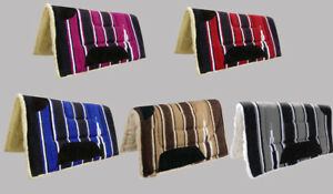2 INCH THICK WESTERN SADDLE PAD NUMNAH 32 X 32 BROWN, RED, BLUE, GREY