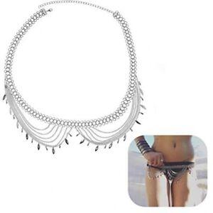 KissYan Boho Statement Turquoise Necklace Crossover Harness Bikini Waist Belly