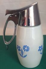 Gemco Corning Syrup Blue Cornflower White Glass Top Coordinate Chrome Metal Top
