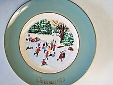 """1975 Avon Christmas Collectible Plate """"Skaters On The Pond"""" - 4th Edition"""
