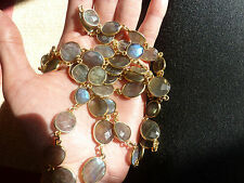 "$1500 Rivka Friedman 200ct+ Labradorite Opal-Like Gem Ippolitan 32"" Necklace 14k"