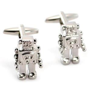 ROBOT CUFFLINKS Silver Metallic w GIFT BAG Pair Groom Wedding Retro Space Age