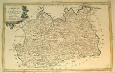 1779 Genuine Antique Hand Colored Map Surrey Co, England. Nice Cartouche. Zatta