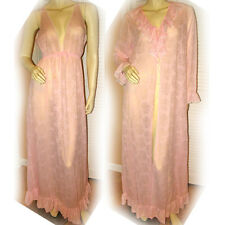 b5d89a230f MISS ELAINE Pink Lace Night Dress Nightgown Robe Women Intimate Nighty  Sleepwear