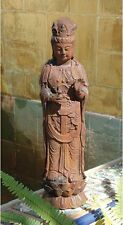 Chinese Goddess of Mercy on Lotus Blossom Pedestal Sculpture Garden Statue