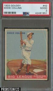 1933 Goudey #42 Eddie Collins Boston Red Sox PSA 2 Good