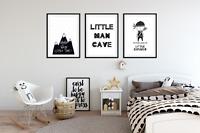 Set of 3 Boys Bedroom Prints / Little Man Cave / Black & White Kids Wall Art (F)