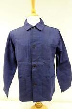 Vintage french workwear chore jacket coton bleu foncé royaume-uni m deadstock 149 y