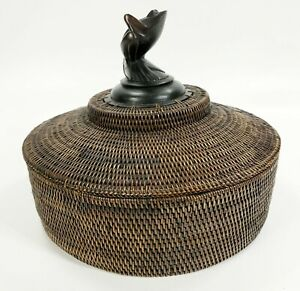 Vintage Balinese Woven Basket With Hand-Carved Frog Art Figure