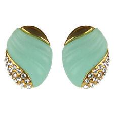 Boucles d'oreilles plaqué or cristal Swarovski doré vert amande rétro pin up