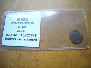 ROMAN CONSTANTIUS AE3/4 SISCIA GLORIA EXERCITVS SOLDIERS AND STANDARD