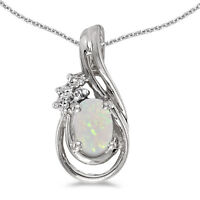"""10k White Gold Oval Opal And Diamond Teardrop Pendant with 16"""" Chain"""