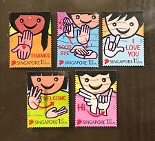 Singapore Stamps SIGN LANGUAGE postal used set of 5 HANDS (harder to find used)