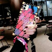 Luxury Bling Rainbow Diamond Square Case Cover For iPhone 11 Pro XR XS MAX 12 8